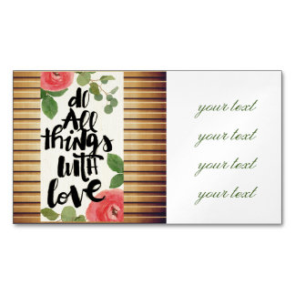 Grunge wood wall,floral, text,roses,vintage,rustic magnetic business cards