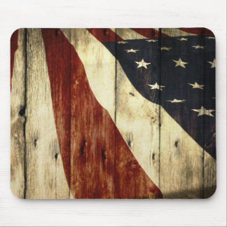 Grunge woodgrain USA American Flag Patriotic Mouse Pad