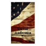 Grunge woodgrain USA American Flag Patriotic Pack Of Standard Business Cards