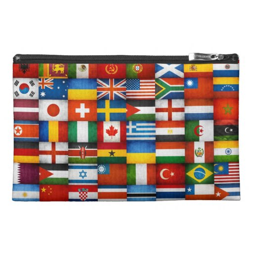 Grunge World Flags Collage Design Travel Accessory Bags