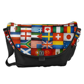 Grunge World Flags Collage Design Messenger Bag