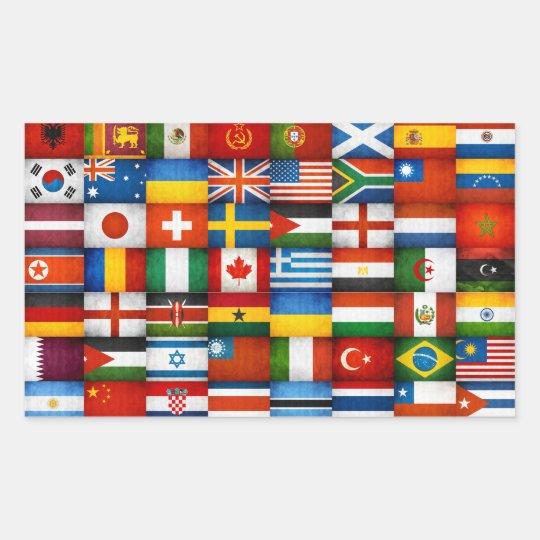 Grunge World Flags Collage Design Rectangular Sticker