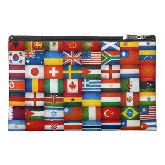 Grunge World Flags Collage Design Travel Accessories Bag