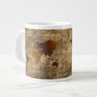 Grunge World Map on Parchment Jumbo Soup Mug Jumbo Mug
