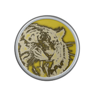 Grunge Yellow Abstract Growling Tiger Speaker