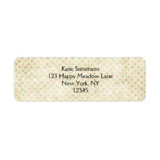 Grunge yellow background with faded red polka dots return address label