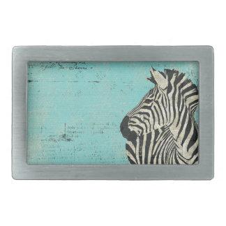 Grunge Zebra Blue Belt Buckle