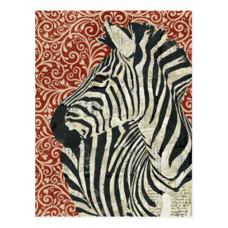 Grunge Zebra Damask Postcard