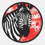 grunge zebra. round sticker