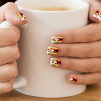 Grunge Zimbabwe Flag Nail Art