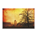Grunged Barn with Tree Canvas Prints