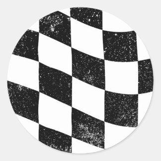 Grunged Chequered Flag Classic Round Sticker