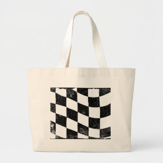 Grunged Chequered Flag Large Tote Bag