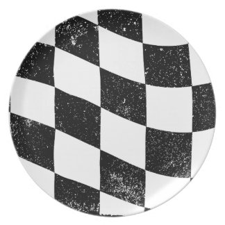 Grunged Chequered Flag Plate