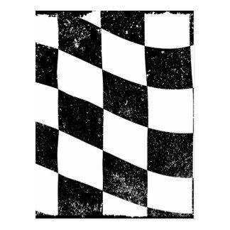 Grunged Chequered Flag Postcard