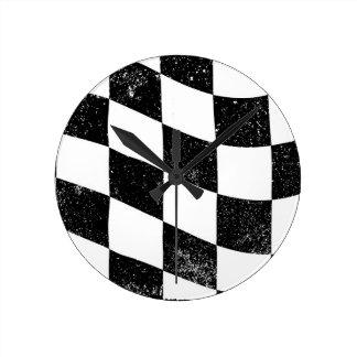 Grunged Chequered Flag Round Clock