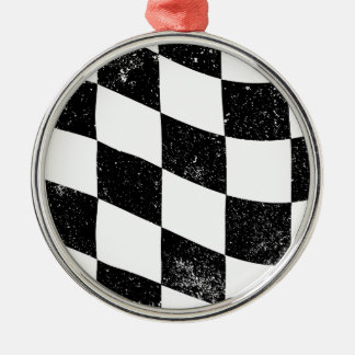 Grunged Chequered Flag Silver-Colored Round Decoration
