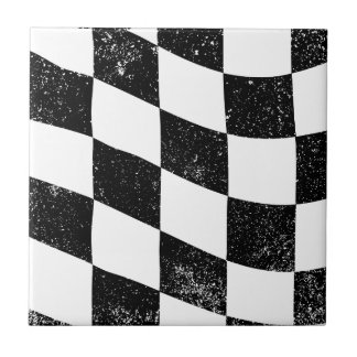 Grunged Chequered Flag Small Square Tile