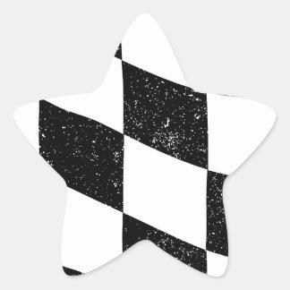 Grunged Chequered Flag Star Sticker