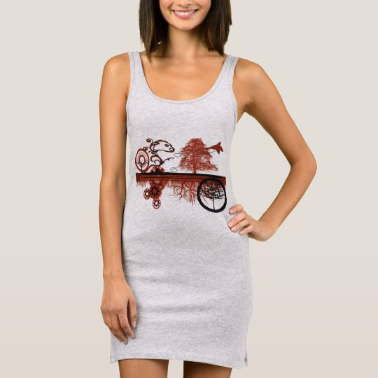 Grunged Tree Circles Tunic Sleeveless Dress