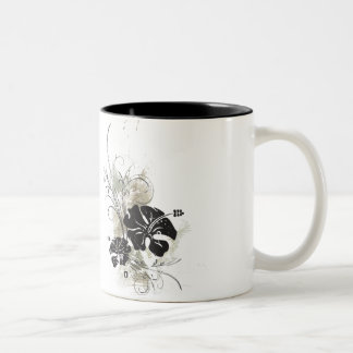 GrungeHibiscus Two-Tone Coffee Mug