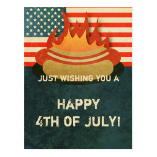 Grungy 4th of July BBQ Party Postcard