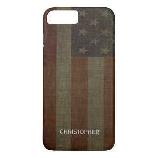 Grungy American Flag with Linen Finish and Name iPhone 8 Plus/7 Plus Case