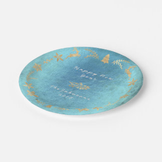 Grungy Aquatic Ocean Gold Gray Christmas Paper Plate