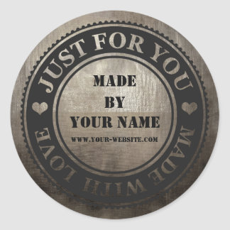 Grungy Black Handmade Just For You Made With Love Round Sticker