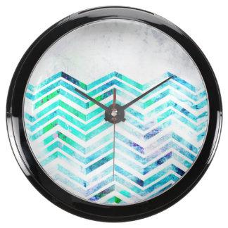 Grungy Blue Chevron Design Aquarium Clock