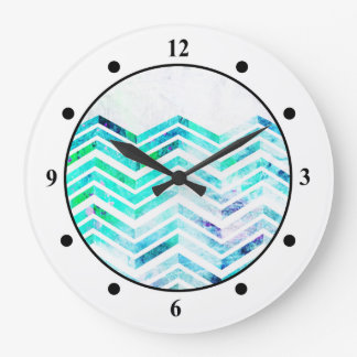 Grungy Blue Chevron Design Wallclock
