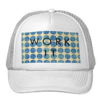 Grungy Blue Denim Dots Modern Navy Blue Mesh Hats