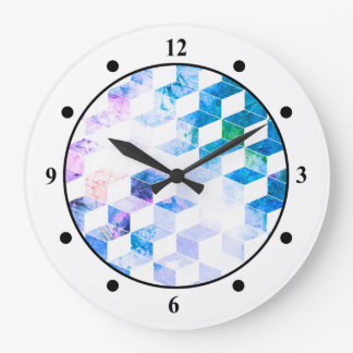 Grungy Blue Geometric Box Pattern Clocks