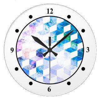 Grungy Blue Geometric Box Pattern Clocks