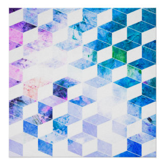 Grungy Blue Geometric Box Pattern Poster