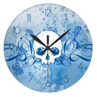 Grungy Blue Skull Round Wallclock