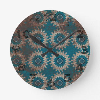 Grungy Blue White Pattern Wheel Background Round Clocks