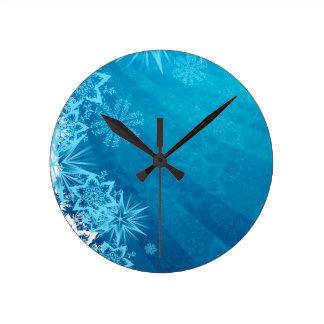 Grungy Blue Winter Snowflake Design Round Wallclock