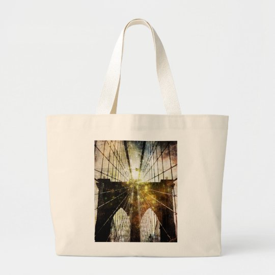 Grungy Blur Brooklyn Bridge Large Tote Bag