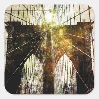 Grungy Blur Brooklyn Bridge Stickers