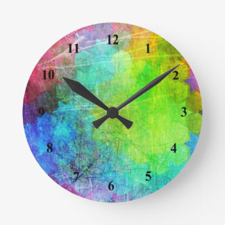 Grungy Bright Geometric Art Wall Clock