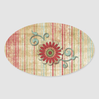 Grungy Bright Stripes with Flower Oval Sticker