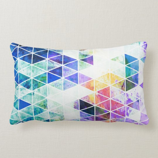 Grungy Bright Triangle Pattern Lumbar Cushion