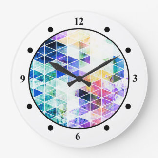 Grungy Bright Triangle Pattern Wallclocks