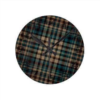 grungy brown blue Plaid Pattern Wallclock