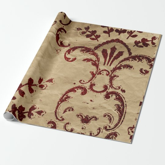 Grungy Cart Red Damask Ornament Wrapping Paper