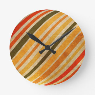 Grungy Citrus Stripes Wall Clocks