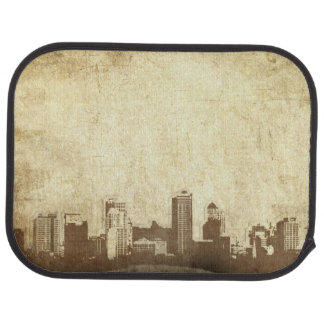Grungy city background floor mat
