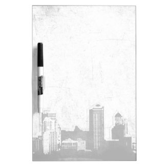 Grungy city background in black and white dry erase boards
