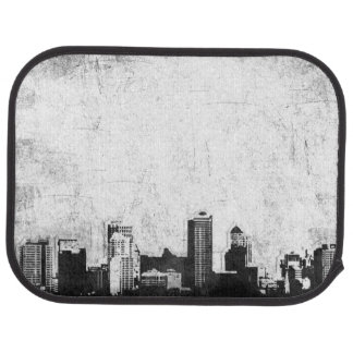 Grungy city background in black and white floor mat
